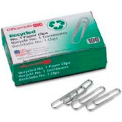 """Officemate® Recycled No. 1 Paper Clips, 1-1/4"""" Width, Silver, 100/Box"""