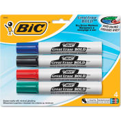 Bic® Great Erase Bold Dry Erase Markers, Chisel Tip, Assorted, 4/Pack