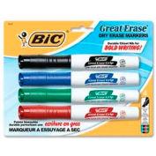 Bic® Great Erase Grip Dry Erase Marker, Chisel Tip, Black/Blue/Green/Red Ink, 4/Set