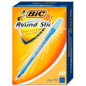 Bic® Round Stic Ballpoint Pen, Medium, Blue Ink, 60/Box