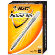 Bic® Round Stic Ballpoint Pen, Medium, Black Ink, 60/Box