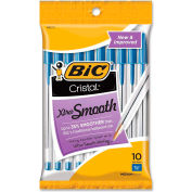 Bic® Cristal Stick Ballpoint Pen, Medium, Blue Ink, Clear Barrel, 10/Pack
