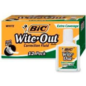 Bic® Wite-Out® Extra Coverage Correction Fluid, Foam Applicator, 20 ml, White, 12/Dozen