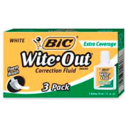 Bic® Wite-Out® Extra Coverage Correction Fluid, Foam Applicator, 20 ml, White, 3/Box