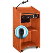 "Oklahoma Sound Aristocrat Sound Lectern with Handheld Wireless Mic 25""W x 20""D x 46""H Cherry"