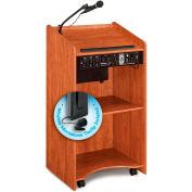 "Oklahoma Sound Aristocrat Sound Lectern w/ Wireless Tieclip/Lavalier Mic 25""W x 20""D x 46""H Cherry"