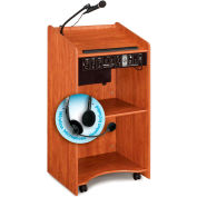 "Oklahoma Sound Aristocrat Sound Lectern with Headset Wireless Mic 25""W x 20""D x 46""H Cherry"