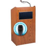 "Oklahoma Sound Aristocrat Sound Lectern with Wireless Handheld Mic 25""W x 20""D x 46""H Medium Oak"
