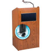 "Oklahoma Sound Aristocrat Sound Lectern w/ Wireless Tieclip/Lavalier Mic 25"" x 20"" x 46"" Medium Oak"