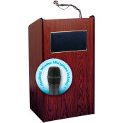 "Oklahoma Sound Aristocrat Sound Lectern with Handheld Wireless Mic 25""W x 20""D x 46""H Mahogany"