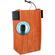 "Oklahoma Sound Vision & Sound Lectern with Handheld Wireless Mic 25""W x 21""D x 46""H Cherry"