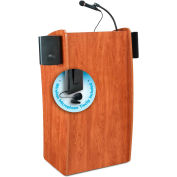 "Oklahoma Sound Vision & Sound Lectern with Wireless Tieclip/Lavalier Mic 25""W x 21""D x 46""H Cherry"