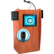 "Oklahoma Sound Vision & Sound Lectern with Screen & Handheld Wireless Mic 25""W x 21""D x 46""H Cherry"
