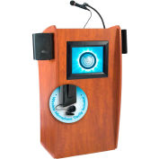 "OK Sound Vision & Sound Lectern with Screen & Wireless Tieclip/Lavalier Mic 25"" x 21"" x 46"" Cherry"