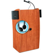 "Oklahoma Sound Vision & Sound Lectern with Screen & Wireless Headset Mic 25""W x 21""D x 46""H Cherry"