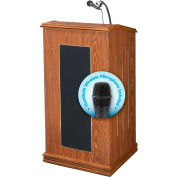 "Oklahoma Sound Prestige Sound Lectern with Wireless Handheld Mic 22""W x 18""D x 47""H Medium Oak"