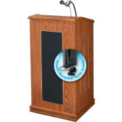 "Oklahoma Sound Prestige Sound Lectern w/ Wireless Tieclip/Lavalier Mic 22"" x 18"" x 47"" Medium Oak"