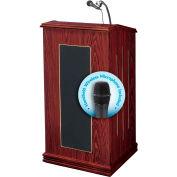 "Oklahoma Sound Prestige Sound Lectern with Wireless Handheld Mic 22""W x 18""D x 47""H Mahogany"
