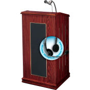 "Oklahoma Sound Prestige Sound Lectern with Wireless Headset Mic 22""W x 18""D x 47""H Mahogany"