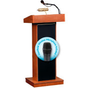 "Oklahoma Sound Fixed Height Orator Lectern & Wireless Handheld Mic 22""W x 17""D x 46""Wild Cherry"