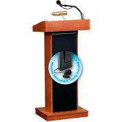 "Oklahoma Sound Orator Lectern with Wireless Tieclip/Lavalier Mic 22""W x 17""D x 46""Wild Cherry"