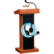 "Oklahoma Sound Orator Lectern with Headset Wireless Mic 22""W x 17""D x 46""Wild Cherry"