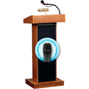 "Oklahoma Sound Fixed Height Orator Lectern & Wireless Handheld Mic 22""W x 17""D x 46""Medium Oak"