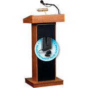 "Oklahoma Sound Orator Lectern with Wireless Tieclip/Lavalier Mic 22""W x 17""D x 46""Medium Oak"