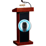 "Oklahoma Sound Fixed Height Orator Lectern & Wireless Tieclip/Lavalier Mic 22"" x 17"" x 46"" Mahogany"
