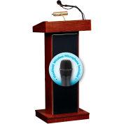Oklahoma Sound Fixed Height Orator Podium / Lectern & Wireless Tieclip / Lavalier Mic, Mahogany