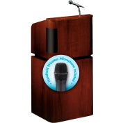 "OK Sound Tabletop-Base Combo Lectern w/ Wireless Handheld Mic 24"" x 20-1/2"" x 48"" Mahogany/Walnut"