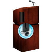 "OK Sound Tabletop-Base Combo Lectern w/ Wireless Tieclip/Lavalier Mic 24"" x 20-1/2"" x 48"" Mahogan"