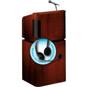 "OK Sound Tabletop-Base Combo Lectern w/ Headset Wireless Mic 24"" x 20-1/2"" x 48"" Mahogany/Walnut"