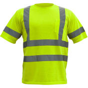 Utility Pro™ Hi-Vis S/S Pocket T-Shirt, ANSI Class 3, XL, Lime
