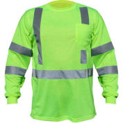 Utility Pro™ Hi-Vis L/S Pocket T-Shirt, ANSI Class 3, 3XL, Lime