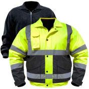 Utility Pro™ Hi-Vis Bomber Jacket W/Zip-Out Liner, L, Yellow/Black