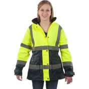 Utility Pro™ Hi-Vis Ladies Parka Jacket, Class 2, XL, Yellow/Black
