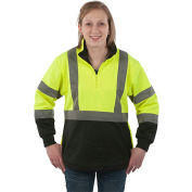 Utility Pro™ Hi-Vis Ladies 1/4 Zip Soft Shell Jacket, Class 2, L, Yellow/Black