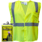 Utility Pro™ Hi-Vis Mesh Vest in Hanger Bag, ANSI Class 2, L, Yellow