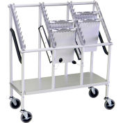 "Omnimed® Wheeled Chart Carrier, 3-Tier, 33""W x 13""D x 37""H, Anodized Aluminum"