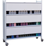 Omnimed® Large Vertical Cabinet Chart Rack with Locking Panel, 45 Binder Capacity, Light Gray