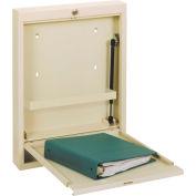 Omnimed® Slimline Wall Desk Single Size, Spring Close, Keyed Lock, Beige