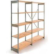 "Excalibur Stockroom Shelving, AD5123672, 36""W X 12""D X 72""H, Galvanized/Pine, 5-Shelf-Add On"
