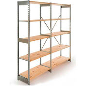 "Excalibur Stockroom Shelving, AD6243684, 36""W X 24""D X 84""H, Galvanized/Pine, 6-Shelf-Add On"
