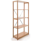 "Excalibur Finished Display Shelving, SB5122472, 24""W X 12""D X 72""H, All Wood, 5-Shelf-Starter"