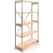 "Excalibur Stockroom Shelving, SD6124884, 48""W X 12""D X 84""H, Galvanized/Pine, 6-Shelf-Starter"
