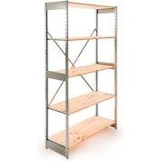 "Excalibur Stockroom Shelving, SD6124884, 48""W X 12""D X 84""H, Galvanized/Pine, 6-Shelf-Starter"