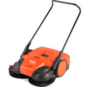 "Haaga® 31"" Battery Powered Triple Brush Push Power Sweeper - HAAGA 677"