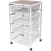 "Origami DFS-04-WHITE 4 Drawer Kitchen Cart 20-3/5""L x 18-3/4""W x 34""H White"