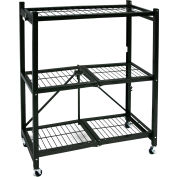 Origami R3-01W General Purpose Collapsible Shelf With Wheels, 3 Tier Steel